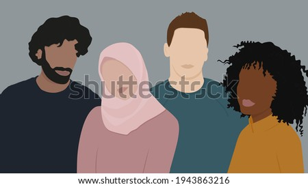 Group of people different kind races together. People with different nationalities. Multinational group of happy people stay together. Friendship concept. Flat illustration Foto d'archivio ©
