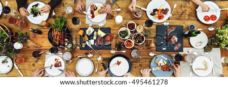 Group Of People Dining Concept #495461278