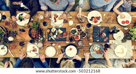 Group Of People Dining Concept #503212168