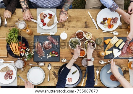 Group Of People Dining Concept #735087079