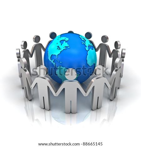 Group of people forming circle around earth globe