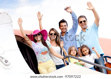 Group of people going on a family trip by airplane