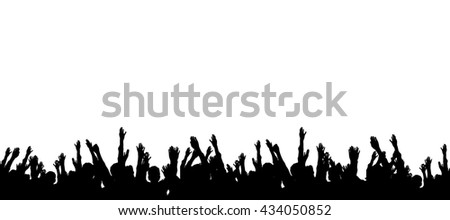 Group of people hands up illustration Stock photo ©