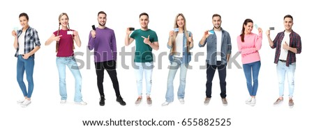 Group of people holding blank business cards on white background