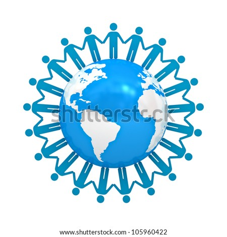 Group of people holding hands around globe isolated on white background