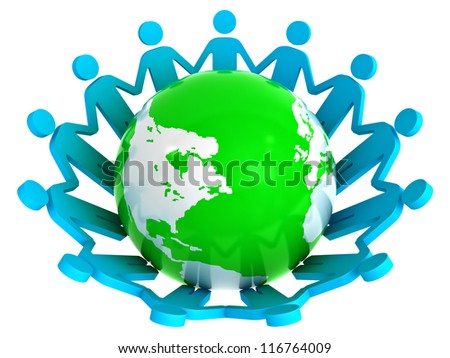 Group of people holding hands around green globe isolated on white background