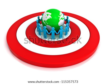 Group of people holding hands in circle around green globe on red target with reflection over white background