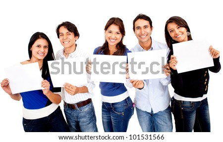 Group of people holding small banners - isolated over white
