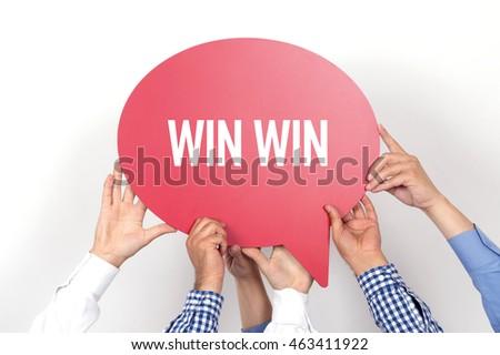 Group of people holding the WIN WIN written speech bubble #463411922