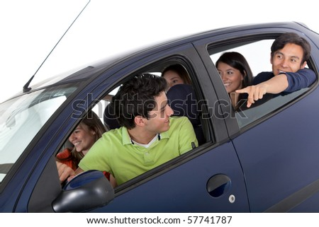 Group of people in a car - isolated over a white background