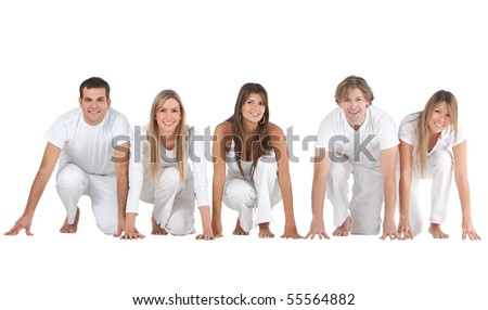 Group of people in a racing position isolated over a white background
