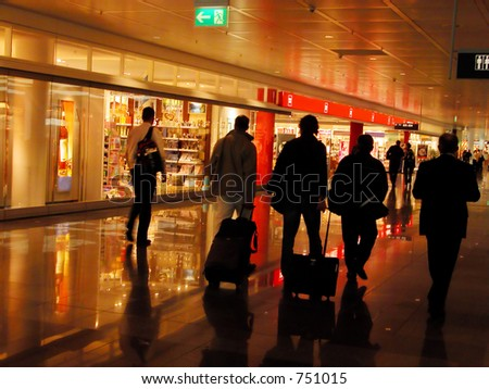 group of people in an airport