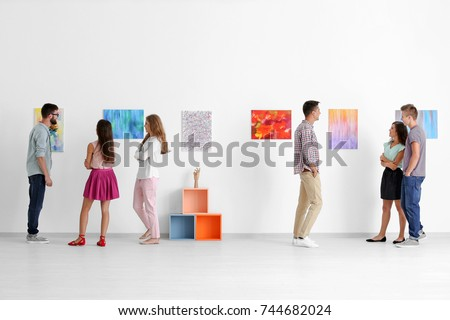 Group of people in art gallery #744682024