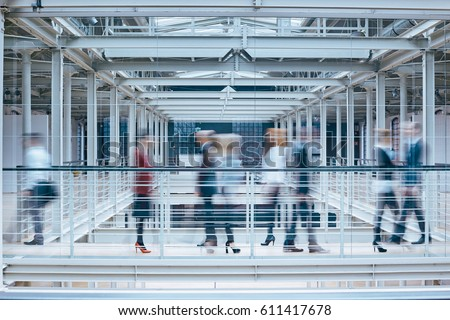 Group of people in business center, blurred image Stock foto ©