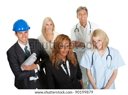 Group of people in different occupations and professions white background