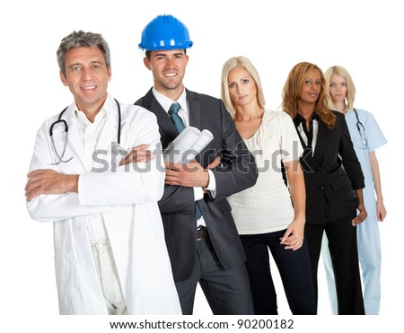 Group of people in different professions standing isolated against white background