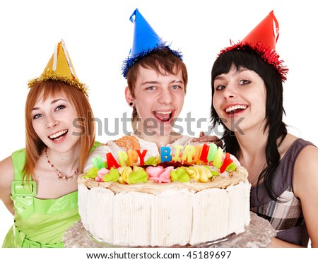 Group of people in party hat with cake celebrate happy birthday. Isolated.