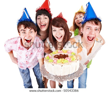 stock photo : Group of people in party hat with cake. Isolated.