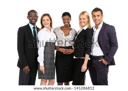 Group of people in suits looking at camera on white background