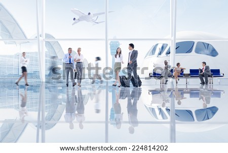 Group of People in the Airport stock photo