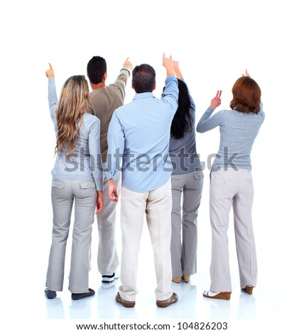 Group of people looking a copyspace. Isolated on white background.