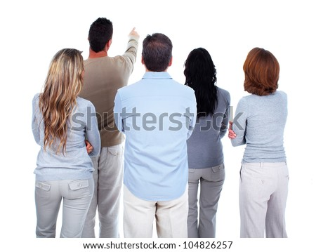 Group of people looking a copyspace. Isolated on white background. - stock photo