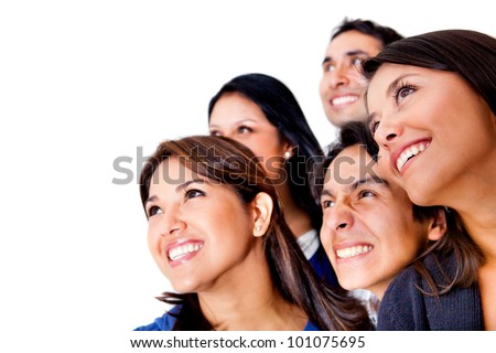 Group of people looking up - isolated over a white background