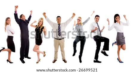 group of people on white background
