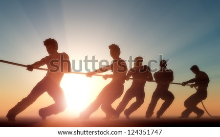 Stock Photo Group of people pulling the rope in the sunlight.