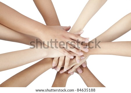 group of people's hands together isolated on white