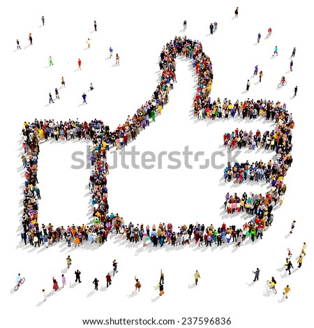 Group of people seen from above gathered together in the shape of a