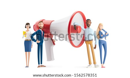 Group of people shouting on megaphone. 3d illustration.  Cartoon characters. Hiring and recruitment concept with characters