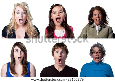 Group of people showing genuine surprise, isolated image