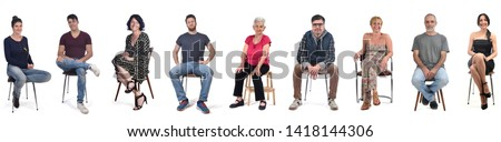 group of people sitting on white background Foto d'archivio ©