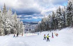 Group of people skiing on a ski slope in Poiana Brasov resort, in winter season, Romania