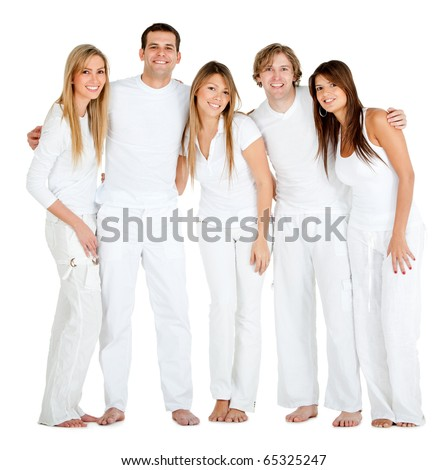 Group of people smiling - isolated over a white background