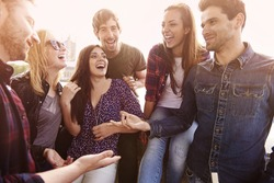 Group of people spending joyful time together