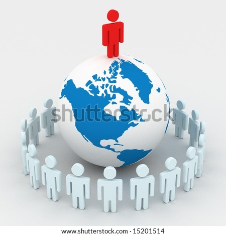 Group of people standing round globe. 3D image.