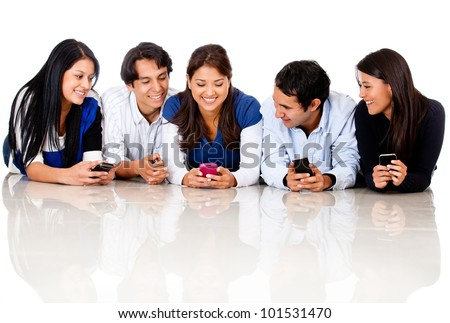 Group of people texting - isolated over a white background