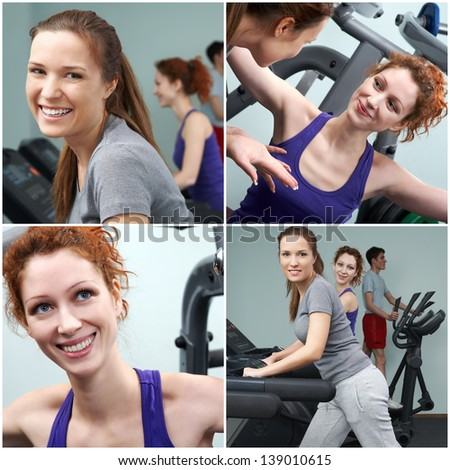 Group of people training on sport machines in gym