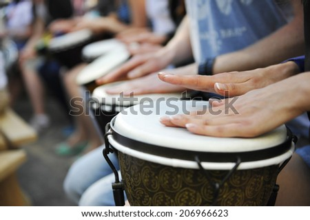 group of people with African drums #206966623
