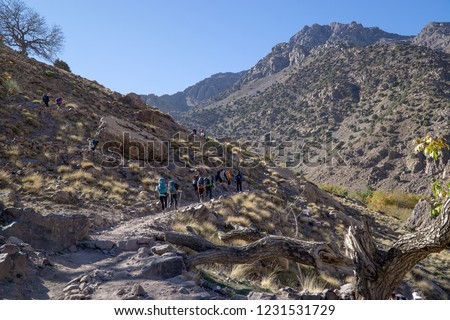 Group of people with big backpacks hiking on Mount Toubkal, Moroccow, heading for the peak of Atlas's highest mountain