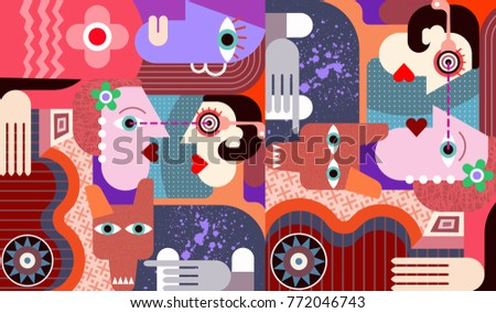 Group of people with big dirty dog abstract fine art scenery painting.