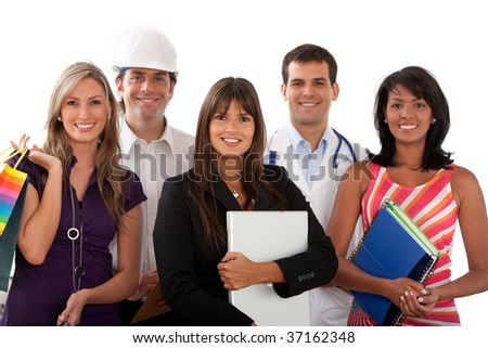 Group of people with different professions isolated over white