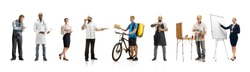 Group of people with different professions on white studio background, horizontal. Modern workers of diverse occupations, male and female models like accountant, cook, deliveryman, teacher, doctor.