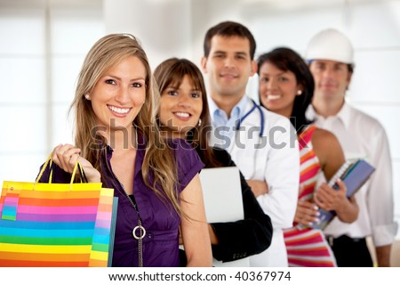 Group of people with different professions smiling