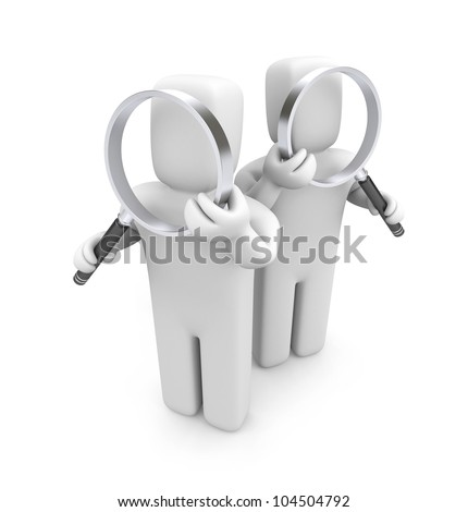Group of people with magnifying glasses. Image contain clipping path