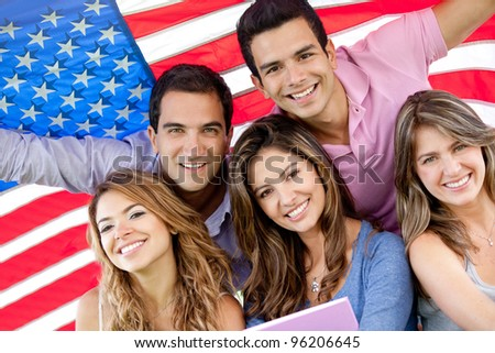 Group of people with the USA flag - American youth concepts
