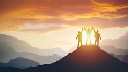 Group of peoples on mountains top in winner pose. Leadership Concept
