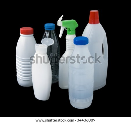 group of plastic bottles isolated on black whith clipping path